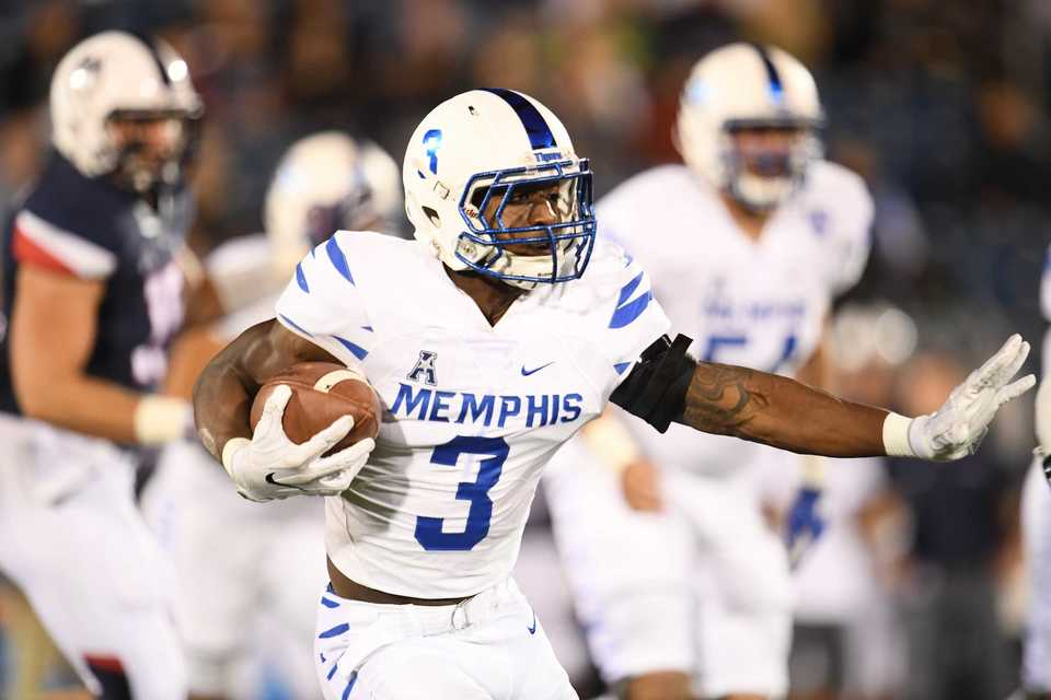 <strong>Former University of Memphis standout Anthony Miller in the team's all-white uniform. The Tigers are 3-1 wearing their road white jerseys at home since head coach Mike Norvell came to Memphis.&nbsp;</strong>(Ben Solomon, American Athletic Conference)
