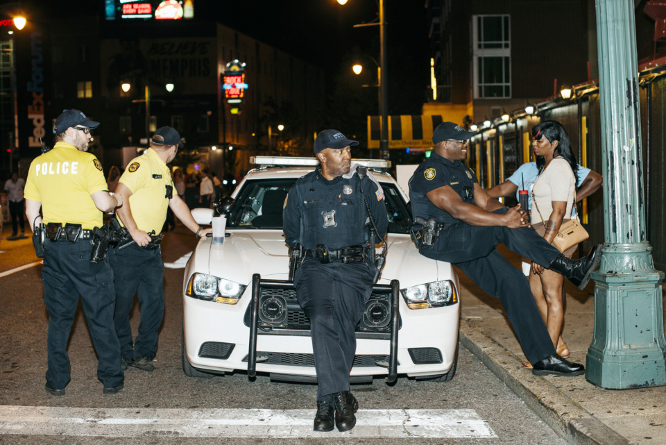 <strong>In this 2017 photo, Memphis Police maintain a presence on Beale Street when the $5 cover charge was a point of contention between MPD and some city council members.&nbsp;</strong>(Daily Memphian file)