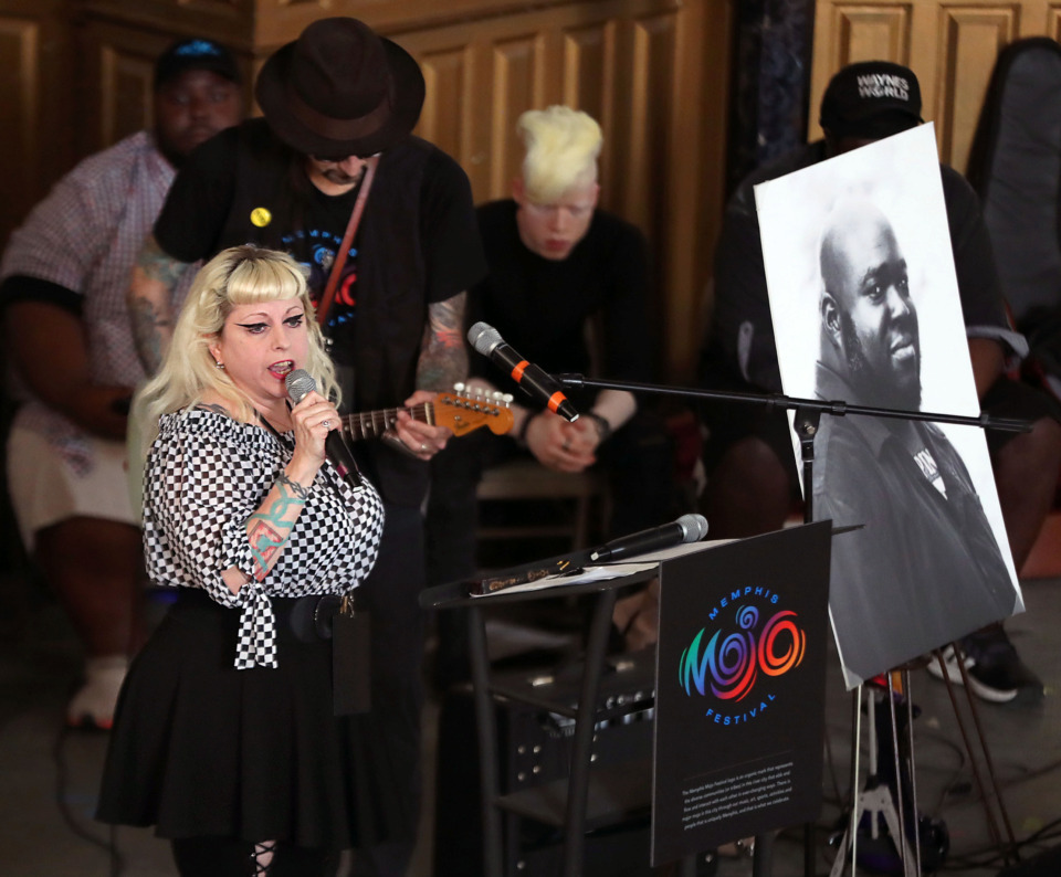 <strong>Mandy Lemons of Low Society performs during a music-filled press conference announcing the inaugural Memphis Mojo Festival in honor of recently deceased musician Omar Higgins.</strong> (Patrick Lantrip/Daily Memphian)