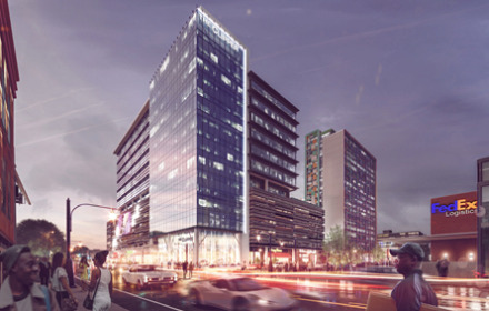 <strong>A rendering of the The Clipper office-hotel tower planned for Downtown Memphis next to where FedEx Logistics is moving its global headquarters into the Gibson Guitar building.</strong> (Submitted)