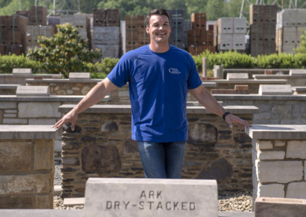 <strong>Michael Christie poses for a photo among assorted displays of stone building material at Christie Cut Stone on May 8, 2019 in Memphis, Tenn.</strong> (Brandon Dill/Special to The Daily Memphian)