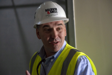 <strong>Germantown Municipal School District Superintendent Jason Manuel leads a tour at the construction site of Forest Hill Elementary School May 8, 2019, in Germantown.</strong> (Brandon Dill/Special To The Daily Memphian)