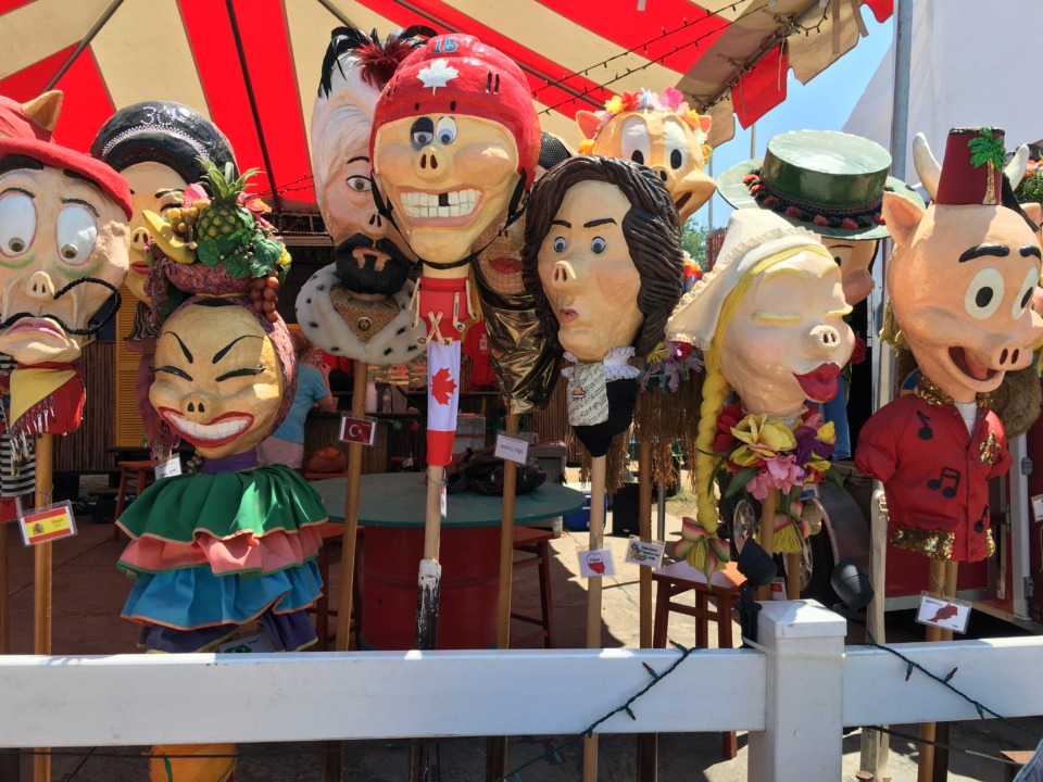 <strong>The Sow Luau team adds a papier mache head to its collection every year, each commemorating the country being honored by Memphis in May. This year, the festival celebrates Memphis on its bicentennial.</strong> (Jennifer Biggs/Daily Memphian)