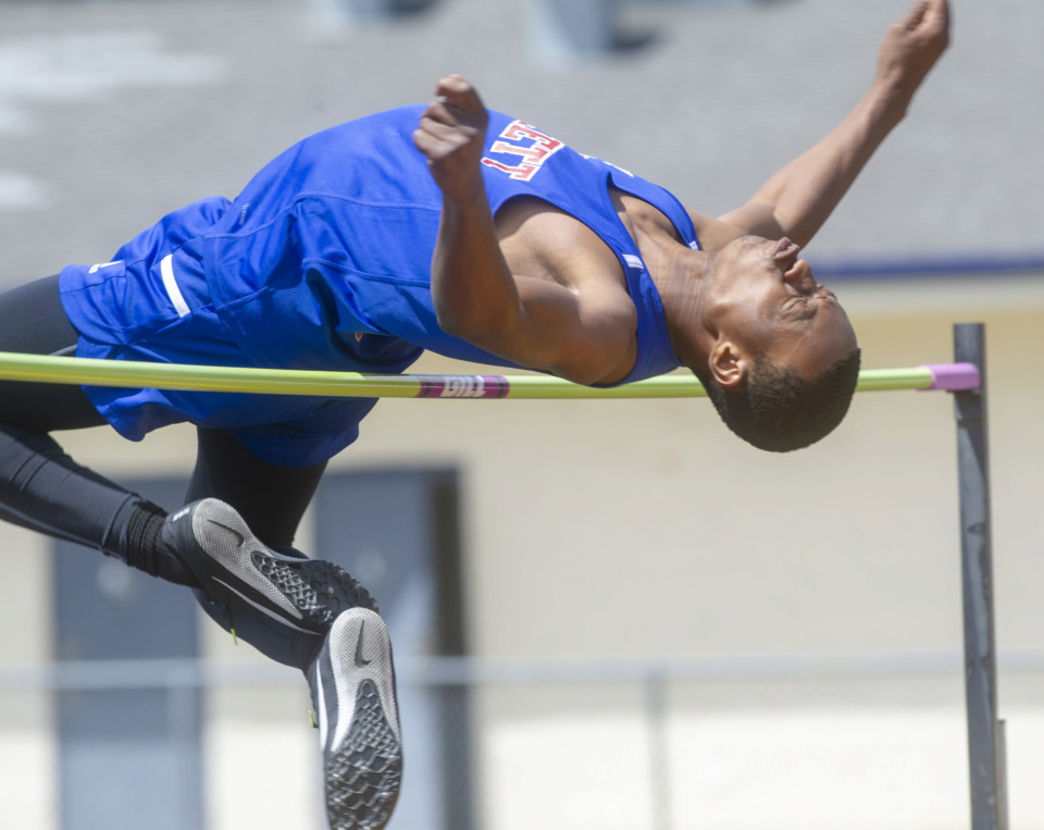 <strong>Bartlett High School's Derek Malone competes in the high jump at at the 4-AAA sectional track meet on Monday, May 13, 2019, at Arlington High School.</strong> (Greg Campbell/Special to The Daily Memphian)