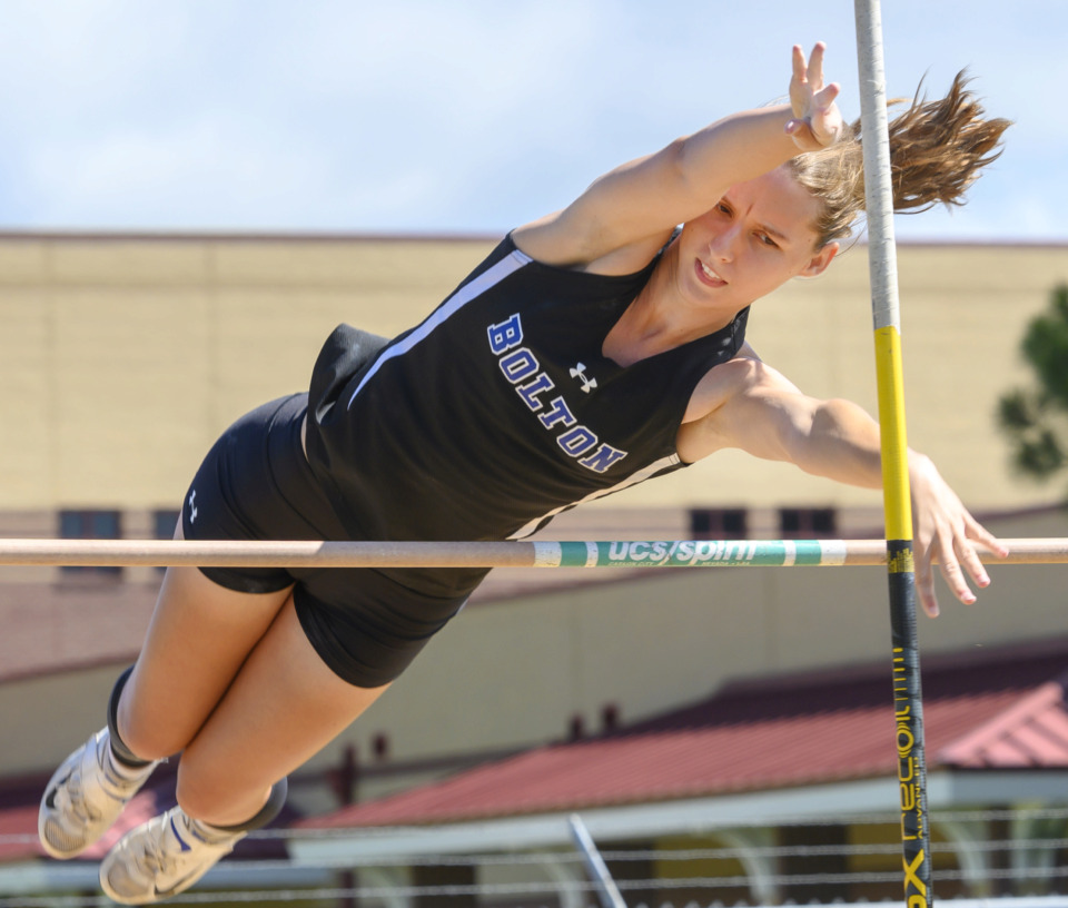 <strong>Bolton High School senior Heidi Myers successfully clears the bar during the finals of the girls pole vault competition during the 4-AAA sectional track meet at Arlington High School on Monday, May 13, 2019.</strong> (Greg Campbell/Special to The Daily Memphian)