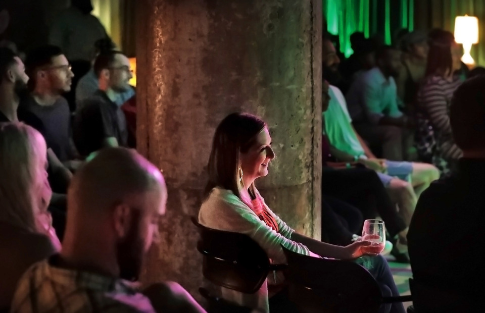 <strong>Elizabeth Walker (center) attends a show by The PRVLG at the Green Room in Crosstown Concourse on May 2. Crosstown Arts is operating four music venues &ndash; the Green Room, Crosstown Theater, the East Atrium and 430 N. Cleveland, across the street from the Concourse.</strong> (Jim Weber/Daily Memphian)