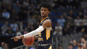 <strong>Murray State point guard Ja Morant (12) is one of the likely contenders for the Grizzlies' No. 2 draft pick. Morant, at 6&rsquo;3&rdquo;, averaged 25 points, 6 rebounds, and 10 assists as a 19-year-old at Murray State.&nbsp;</strong>(AP Photo/Jessica Hill)