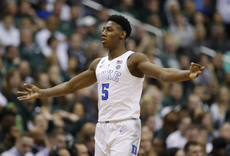 <strong>Duke's R.J. Barrett (5) is one of the top contenders for the Grizzlies' No. 2 draft pick. The</strong> <strong>6-foot-7 guard/wing averaged 23 points, eight rebounds and four assists as a freshman.</strong> (AP Photo/Alex Brandon)