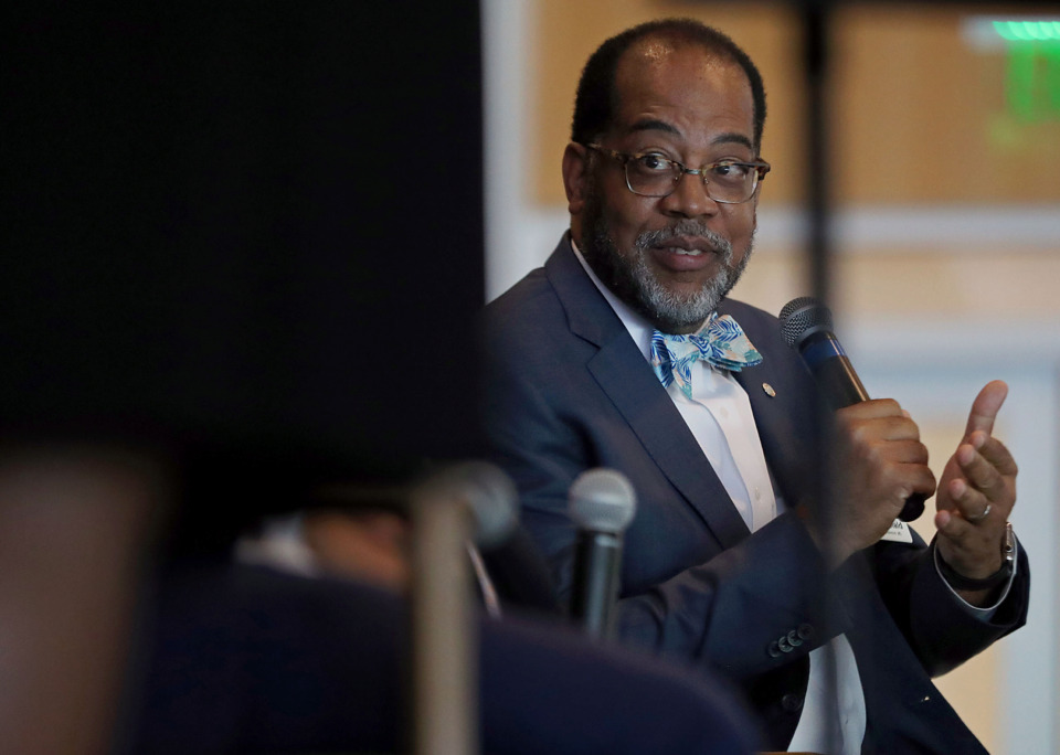 <strong>Dr. Reginald Coopwood, president and CEO of Regional One Health, gave his thoughts on how health care will look in the Mid-South 10 to 50 years from now. Coopwood took part in a panel discussion at the Common Table Health Alliance's 10th annual board meeting and awards luncheon on Tuesday, May 14.</strong> (Patrick Lantrip/Daily Memphian)