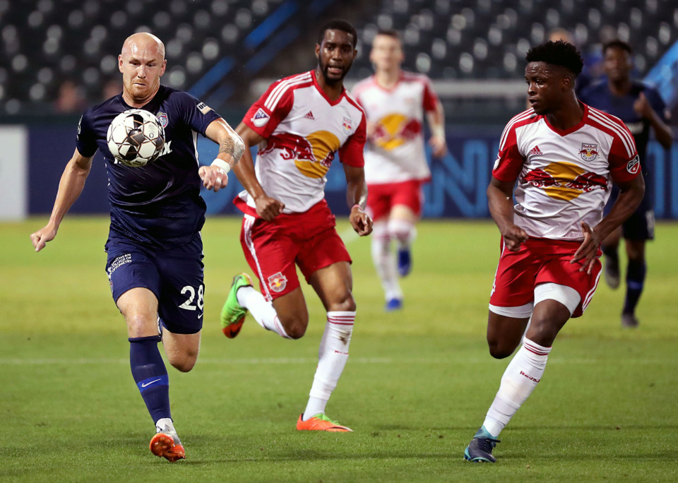 <strong>Memphis 901 FC forward <span>Jochen Graf&nbsp;</span>chases down a ball in the first half of a Wednesday, May 15, 2019, home game against the New York Red Bulls U23 team.</strong> (Patrick Lantrip/Daily Memphian)