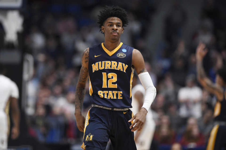 <span><strong>Murray State's Ja Morant (12) during the first half of a second round men's college basketball game in the NCAA tournament, Saturday, March 23, 2019, in Hartford, Conn.</strong> (AP Photo/Jessica Hill)</span>