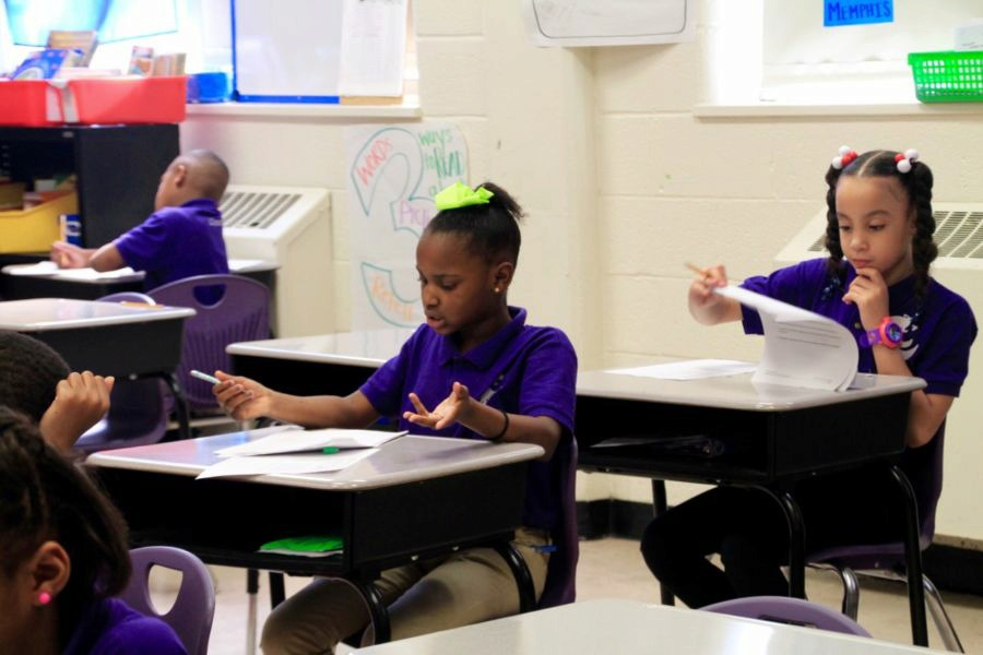 <strong>A student at Aspire Public Schools in Memphis works on a classroom assignment last April.</strong> (Caroline Bauman/Chalkbeat)