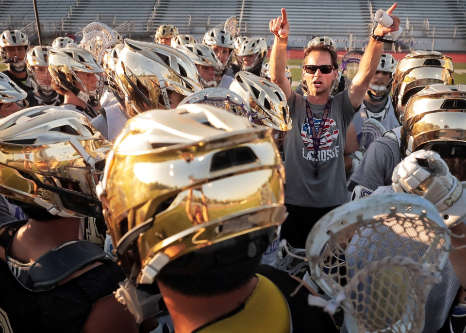 <strong>Christian Brothers lacrosse coach Collin Welsh directs his team onto the field during practice at CBHS on May 16, 2019. Welsh moved to Memphis six years ago to revive the struggling program.</strong> (Jim Weber/Daily Memphian)
