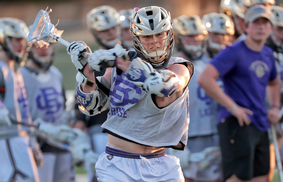 <strong>Christian Brothers star attacker Raymond Fracchia takes a shot during lacrosse practice at CBHS on May 16, 2019. Fracchia is part of a senior core of players who play both football and lacrosse.</strong>&nbsp;(Jim Weber/Daily Memphian)