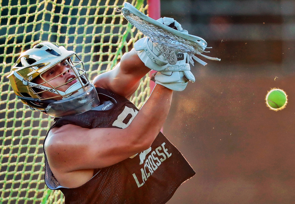 <strong>Christian Brothers goalie Franco Nayan blocks a shot during practice at CBHS on May 16, 2019. The lacrosse team will be playing for the school's first state title in Nashville Saturday.</strong> (Jim Weber/Daily Memphian)