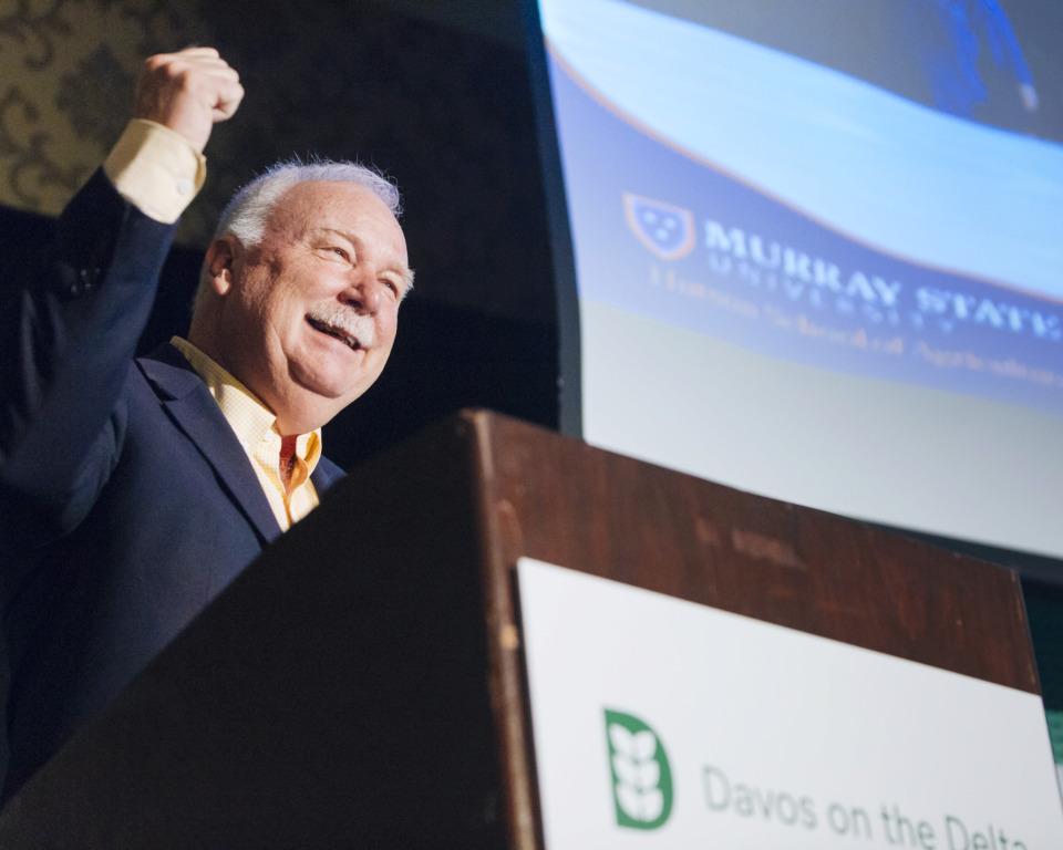 <strong>Dr. Tony Brannon, dean of Hutson School of Agriculture at Murray State, speaks of the hemp industry at the Davos on the Delta conference in the Peabody Hotel on Thursday, May 16, 2019.&nbsp;</strong>(Ziggy Mack/Special to The Daily Memphian)
