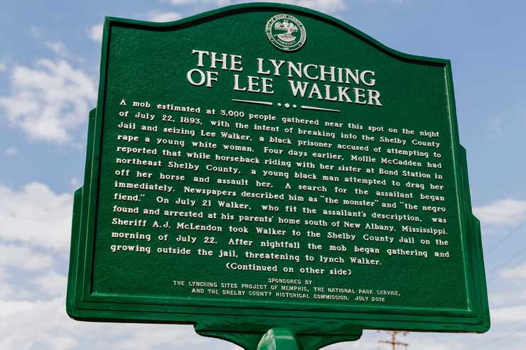 <strong>A historical marker describing the lynching of Lee Walker in 1893 has been placed near the intersection of A.W. Willis and Front Street in downtown Memphis.</strong> (Houston Cofield/Daily Memphian)