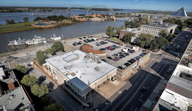 <strong>Seen from the top of the Cotton Exchange Building is the proposed site of a new Brooks Museum of Art, to be located at the intersection at Union Avenue and Front Street in Downtown Memphis.</strong> <strong>Plans to demolish a parking garage to make room for the new riverfront museum has Downtown residents and commuters in a tizzy.</strong>&nbsp; (Jim Weber/Daily Memphian)