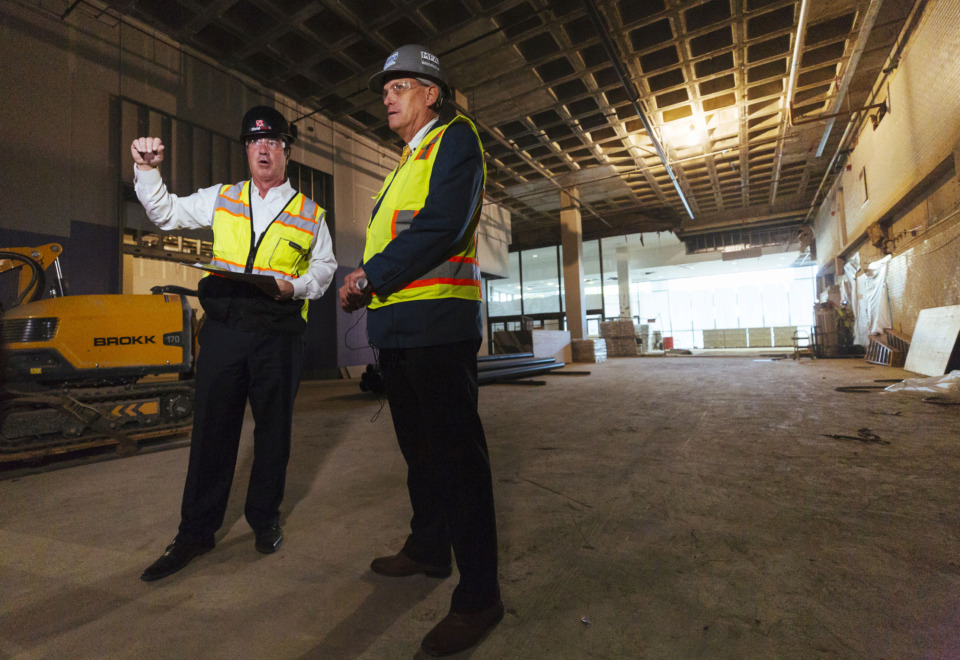 <strong>Tom Marshall, a project overseer, and Dean Dennis, Memphis Convention Center general manager, lead a recent tour of the convention center's renovation.</strong>&nbsp;(Ziggy Mack/Special to The Daily Memphian)