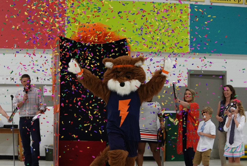 "<strong>Flash the Fox was unveiled as the Forest Hill Elementary School mascot during a party at the school on Sunday, May 19.</strong>&nbsp;<strong>The&nbsp;</strong><span class=""s1""><strong>new Germantown school is set to open in August.</strong>&nbsp;</span>(Karen Pulfer Focht/Special to the Daily Memphian)"