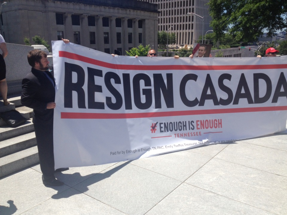 <strong>Protesters from Enough is Enough call for the resignation of Tennessee House Speaker Glen Casada outside the state Capitol in Nashville on Monday, May 20, 2019. The House Republican Caucus issued a 47-22 no-confidence vote in Casada amid a sexist and racist texting scandal.&nbsp;</strong>(Sam Stockard/Daily Memphian)