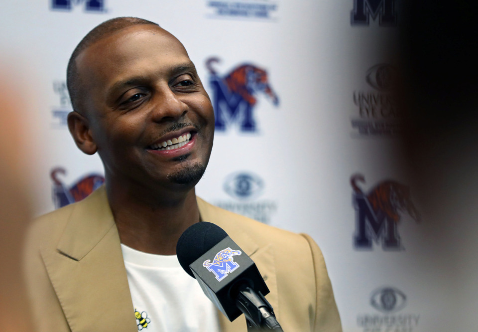 <strong>University of Memphis head basketball coach Penny Hardaway addressed the media on Tuesday, May 21, to discuss a range of topics, including having the top-ranked recruiting class in the country and the departure of assistant coach Sam Mitchell.</strong> (Partrick Lantrip/Daily Memphian)