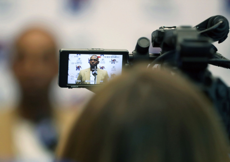 <strong>University of Memphis basketball coach Penny Hardaway spoke on Tuesday, May 21, 2019, to the press about the departure of assistant coach Sam Mitchell and what he expects for the upcoming season.</strong> (Partrick Lantrip/Daily Memphian)