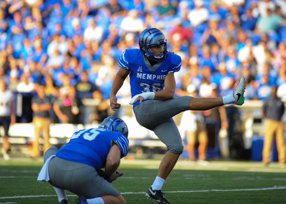 """<strong>University of Memphis sophomore kicker Riley Patterson (36) has brought a more powerful leg &ndash; and a stronger faith &ndash; into the 2018 season. """"I'm a much different person and different kicker than I was last year.""""</strong>&nbsp;(<span>Kevin Langley/Cal Sport Media via AP Images)</span>"""
