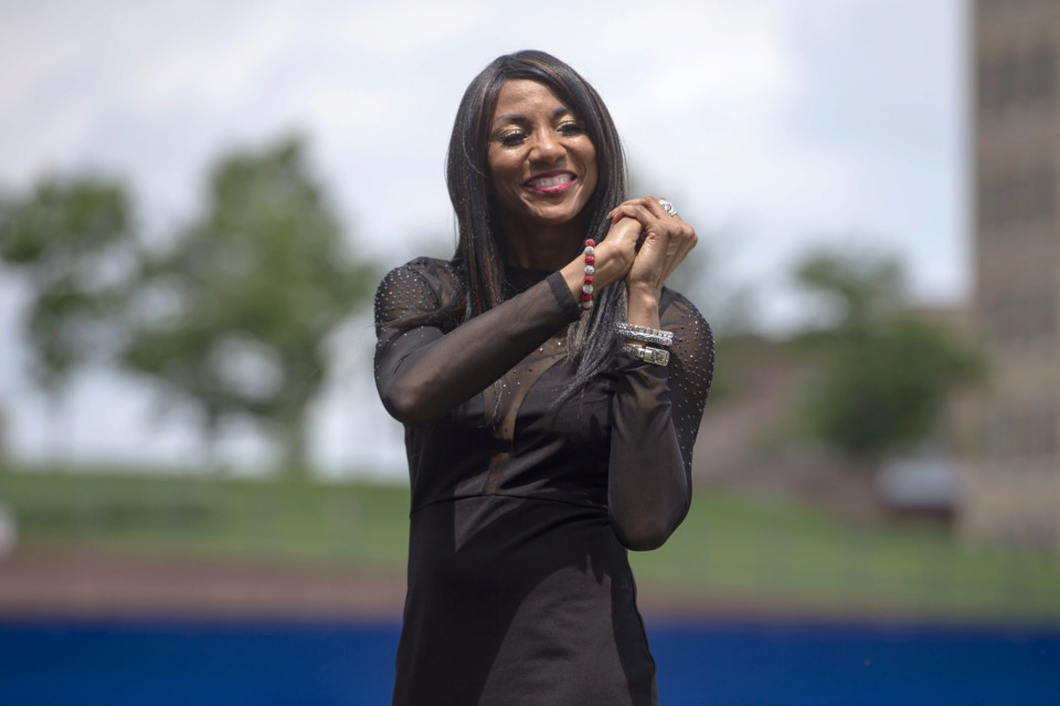 <strong>Runner Rochelle Stevens, an&nbsp;Olympic gold medalist, reacts as she is recognized among the inaugral group of inductees into the Memphis Sports Hall of Fame during a ceremony at AutoZone Park on May 22, 2019, in Memphis.</strong> (Brandon Dill/Special To The Daily Memphian)