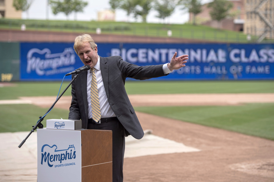 <strong>Kevin Kane, presidend and CEO of the Memphis Convention and Visitors Bureau, speaks during the formal announcement of the Memphis Sports Hall of Fame and its first class of inductees at Autozone Park on May 22, 2019, in Memphis.</strong> (Brandon Dill/Special To The Daily Memphian)