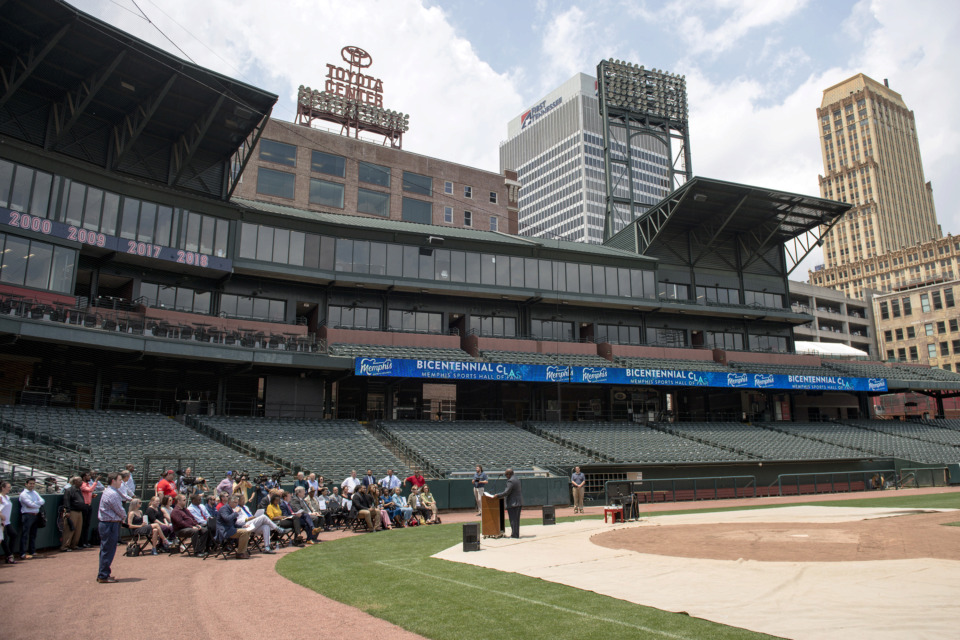 <strong>The formal announcement of the Memphis Sports Hall of Fame and its first class of inductees took place at AutoZone Park on May 22, 2019, in Memphis.</strong> (Brandon Dill/Special To The Daily Memphian)