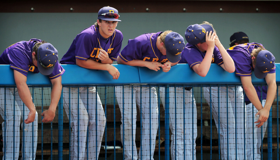 <strong>The CBHS bench reacts as Avery Hastings strikes out, ending a seventh-inning rally during Christian Brothers' loss to Baylor in the Div II Class AA baseball finals at MTSU in Murfreesboro on May 23, 2019.</strong> (Jim Weber/Daily Memphian)