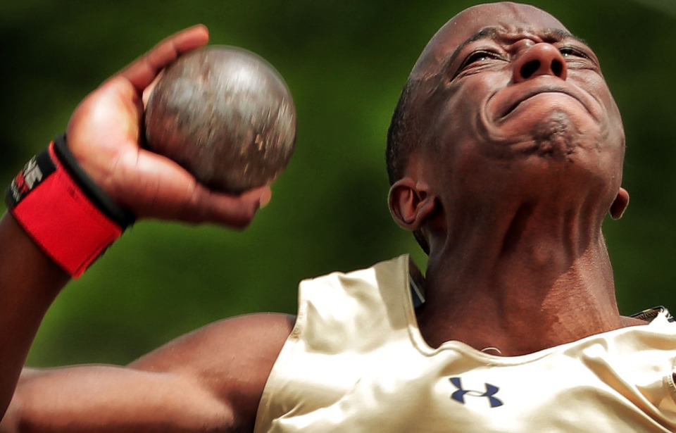 <strong>Arlington's Roland Turner puts in extra effort while competing in the AAA shot put during the Spring Fling Class AAA state track finals at MTSU in Murfreesboro on May 23, 2019.</strong> (Jim Weber/Daily Memphian)