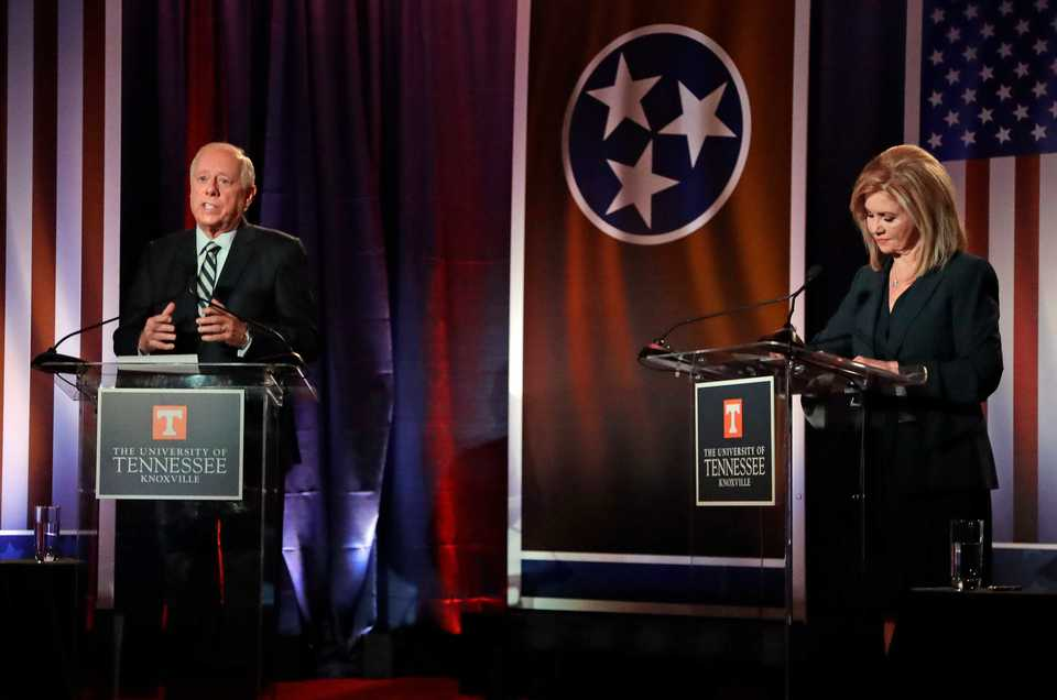 <span><strong>Democratic candidate and former Gov. Phil Bredesen, left, speaks during the 2018 Tennessee U.S. Senate debate with Republican U.S. Rep. Marsha Blackburn on Wednesday, Oct. 10, at The University of Tennessee, Knoxville.</strong> (AP Photo/Mark Humphrey)</span>