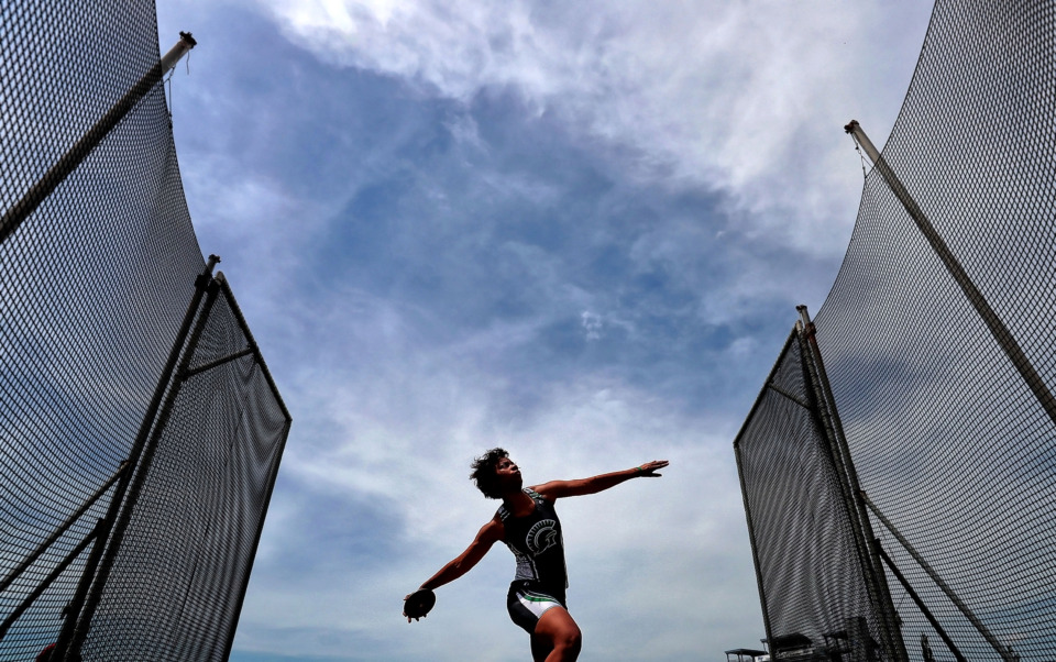 <strong>White Station's Israel Collins warms up before that start of the AAA girls discus during the Spring Fling Class AAA state track finals at MTSU in Murfreesboro on May 23, 2019.</strong> (Jim Weber/Daily Memphian)