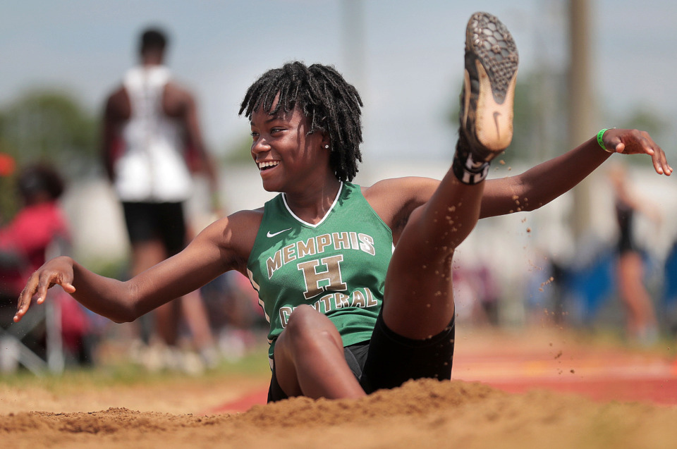 <strong>Central High School's Serena Lee reacts after collapsing backward while competing in the AAA Girls Triple Jump during the Spring Fling Class AAA state track finals at MTSU in Murfreesboro on May 23, 2019.</strong> (Jim Weber/Daily Memphian)