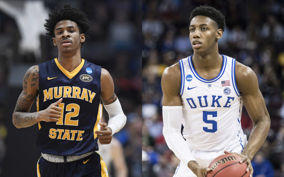 <strong>The Grizzlies could use their No. 2 overall draft pick on Murray State sophomore point guard Ja Morant (left) or Duke freshman wing RJ Barrett.&nbsp;</strong>(Morant: Jessica Hill/AP Photo; Barrett: Sean Rayford/AP Photo)