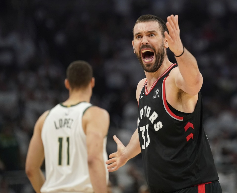 <span><strong>Toronto Raptors' Marc Gasol reacts to a call during the first half of Game 1 of the NBA Eastern Conference basketball playoff finals against the Milwaukee Bucks on&nbsp; Wednesday, May 15, in Milwaukee.</strong> (Morry Gash/Associated Press)</span>