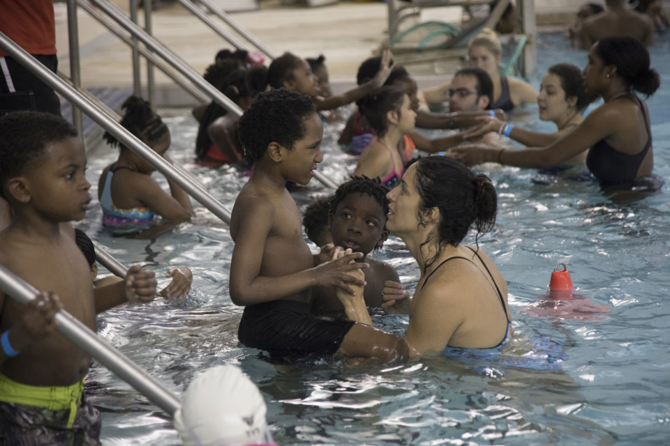 <strong>In March, Olympic swimmer Gabrielle Rose and community partners of Splash Mid-South hosted a free swim clinic and pizza party to promote water safety awareness at the University of Memphis Aquatic Center.</strong> (Courtesy of Lisa Buser)