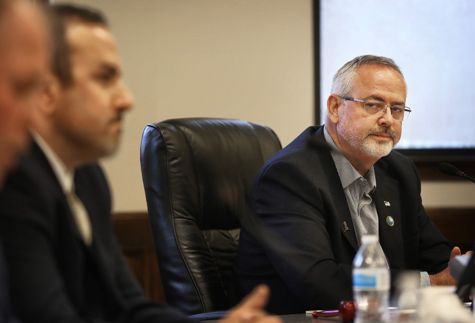 <strong>Lakeland Mayor Mike Cunningham listens to comments by board members during a Lakeland Board of Mayor and Commissioners meeting May 9, 2019. Cunningham on Tuesday proposed a USDA loan as an alternative long-term funding option for building a new high school.&nbsp;</strong>(Jim Weber/Daily Memphian)