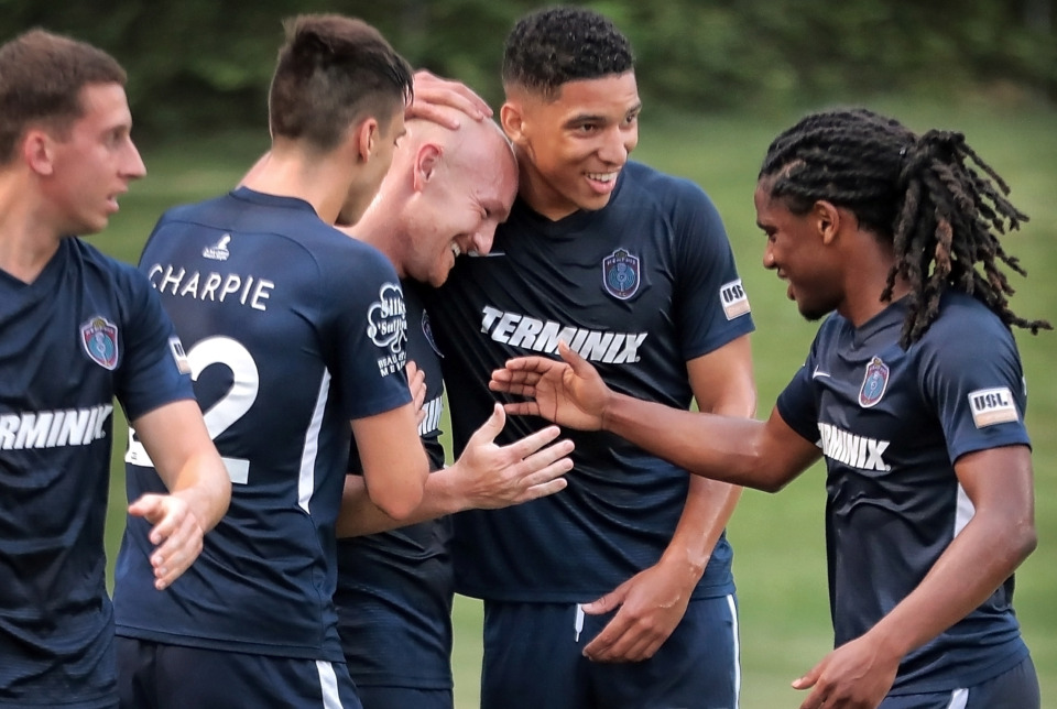 <strong>Memphis forward Jochen Graf (center) celebrates with teammates after a goal in the first half during 901 FC's third-round win over the Hartford Athletic during their Lamar Hunt U.S. Open Cup tournament game at the Mike Rose Soccer Complex on May 29, 2019. Graf scored his first two goals for the Memphis franchise during the 4-0 win.&nbsp;</strong>(Jim Weber/Daily Memphian)