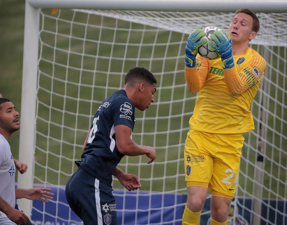 <strong>Memphis goalkeeper Scott Levene traps a shot in the first half during 901 FC's win over Hartford in a third-round U.S. Open Cup game at the Mike Rose Soccer Complex on May 29, 2019.</strong>&nbsp;(Jim Weber/Daily Memphian)