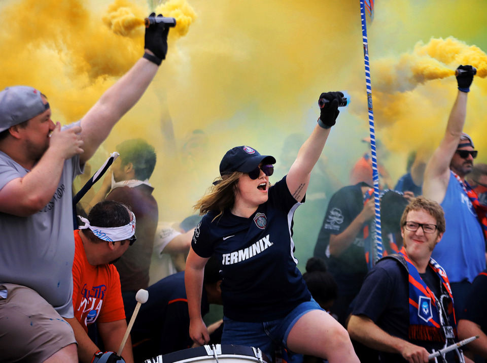 <strong>Soccer fans cheer their team onto the field during 901 FC's third-round win over the Hartford Athletic during their Lamar Hunt U.S. Open Cup tournament game at the Mike Rose Soccer Complex on May 29, 2019.</strong> (Jim Weber/Daily Memphian)