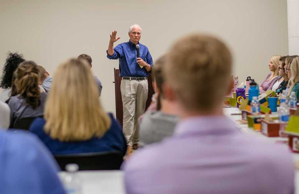 <strong>Dr. Scott Morris speaks to students participating in the Serving the Underserved certificate course at Church Health in Crosstown Concourse in Memphis. </strong>(Johnathan Martin/Special to The Daily Memphian)