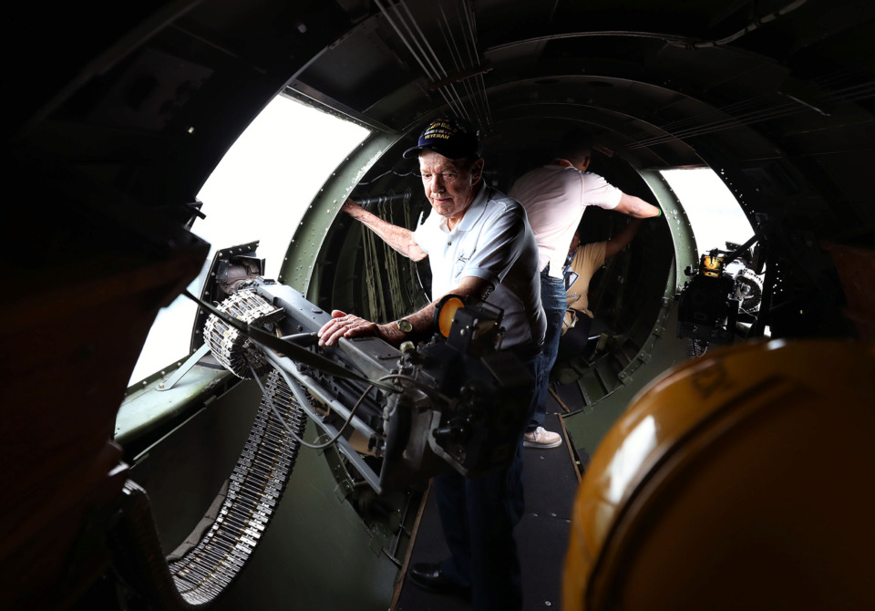 <strong>Garrett J. Williamson, 99,&nbsp; reminisces about his time as a flight engineer in World War II during a flight Thursday, May 30, 2019, around Memphis in a restored B-17 Flying Fortress, the same type of plane he served on more than 75 years ago.</strong> (Patrick Lantrip/Daily Memphian)