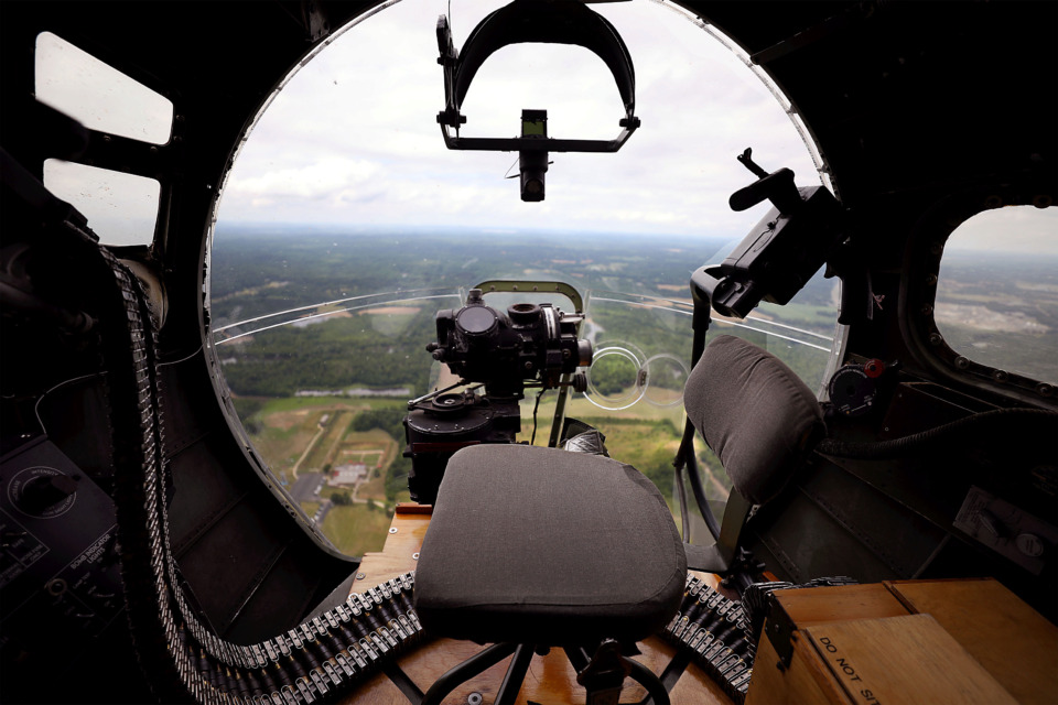 <strong>A restored B-17 Flying Fortress&nbsp; flies over Memphis on May 30, 2019, offering a&nbsp;view of the city from the nose turret of the Aluminum Overcast. The aircraft will be accessible to the public at the Memphis-Millington Airport May 31 through June 2.</strong> (Patrick Lantrip/Daily Memphian)