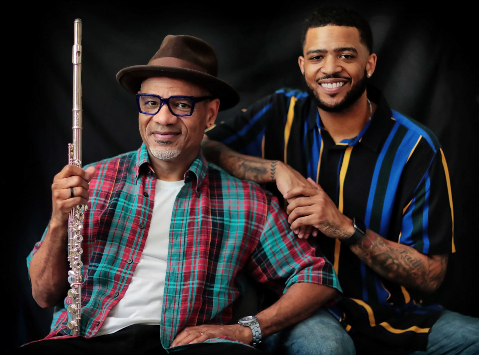 <strong>Grammy-winning saxophonist Kirk Whalum (left) will be hosting a monthly jazz series at Crosstown Theater called Kafe´ Kirk featuring collaborations with guest artists including Kameron Whalum, his nephew.</strong> (Jim Weber/Daily Memphian)