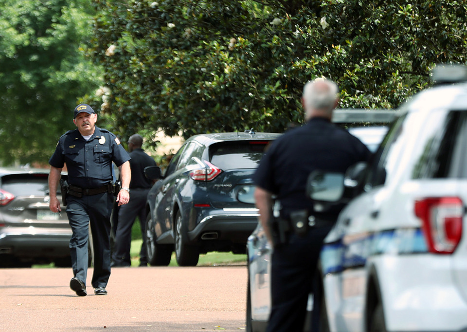 <strong>Collierville police respond to an officer-involved shooting on the north side of town Monday, June 3, 2019. The fatal shooting of David Hoal was the first officer-involved death in Collierville since 1989.</strong> (Patrick Lantrip/Daily Memphian.)