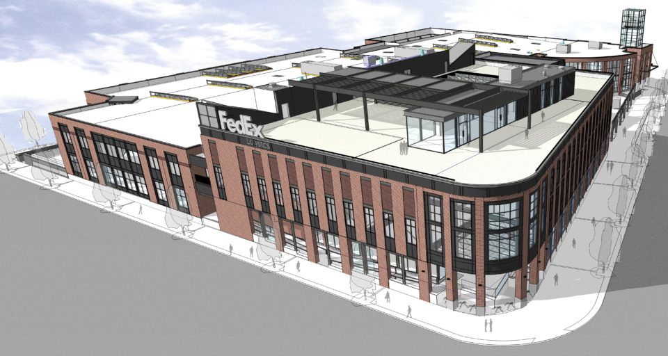 <strong>FedEx Logistics&rsquo; redesign of the Gibson Guitar Factory received unanimous approval from the Downtown Memphis Commission's Design Review Board Wednesday. The company will return to the DRB later with an application for signage, public art and architectural lighting.&nbsp;</strong>(Rendering courtesy of Looney Ricks Kiss/Design Review Board)
