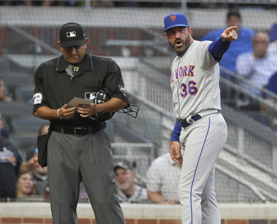 <strong>New York Mets manager Mickey Callaway reacts after being ejected by home plate umpire Alfonso Marquez during play against the Atlanta Braves on April 13, 2019, in Atlanta.&nbsp;With a lineup hit hard by injuries, a bad bullpen and a leaky defense, Callaway is trying to hang on to his job.&nbsp;</strong>(Tami Chappell/Associated Press)